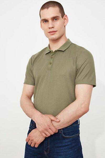 Haki Erkek Slim Fit Dokulu Polo Yaka T-Shirt TMNSS20PO0002