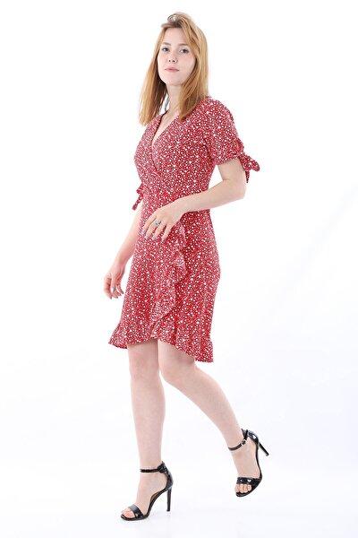 Kadın Kuruvaze Yaka Fırfır Detaylı Kısa Kollu Kırmızı Minik Çiçek Elbise