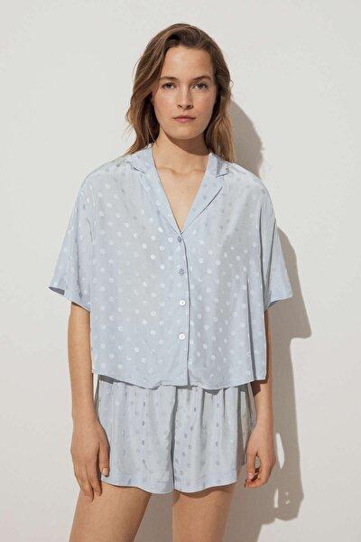 Kadın Mavi Puantiye Desenli Jakarlı Gömlek
