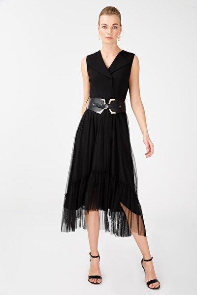 Kadın Siyah Kemerli Tül Detaylı Elbise