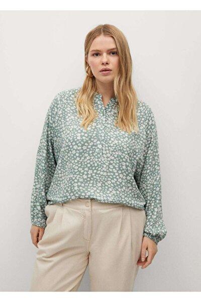 Kadın  Yeşil Desenli Dökümlü Bluz