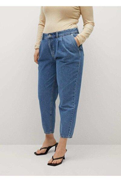 Kadın Mavi Orta Bel Slouchy Jean