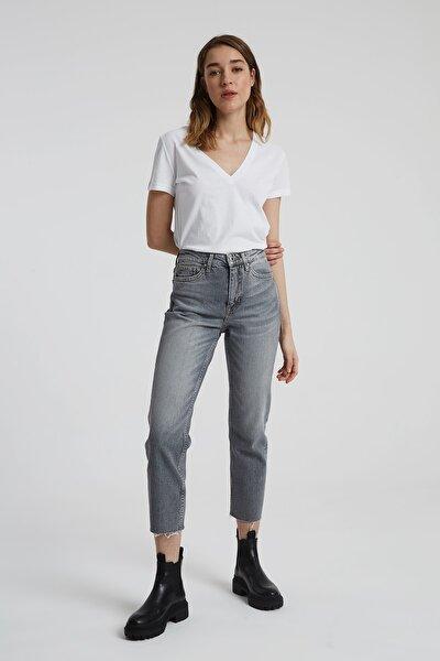 Elıza Cropped Gri Paçası Kesikli Straight Cropped Fit Jean Pantolon