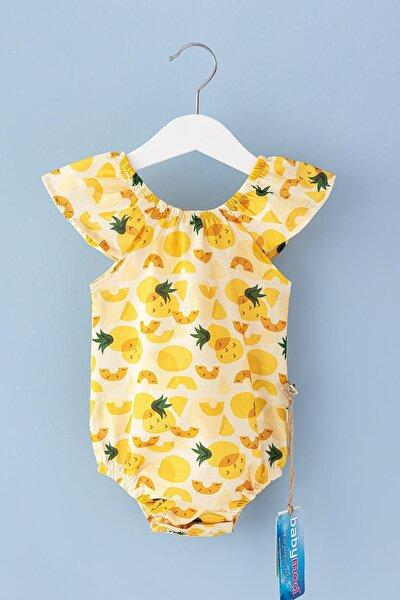 Kız Bebek Sarı Ananas Temalı Yazlık Tulum