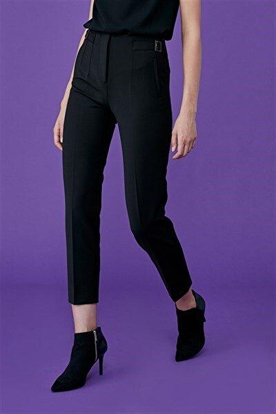 Kadın Siyah Pervaz Kemer Üstü Apolet Ve Toka Detaylı, Dar Paça Pantolon