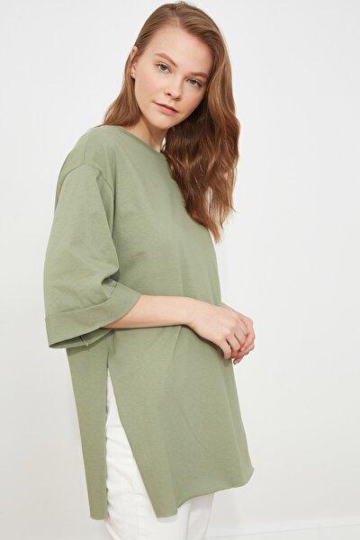 Mint Duble Kol Asimetrik Boyfriend Örme T-Shirt TWOSS20TS0828