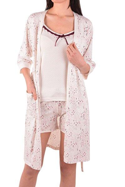 Ekru Kadın Şortlu Pijama Takım Sabahlık