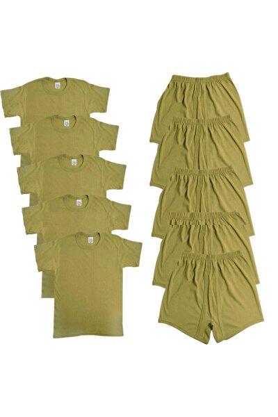 Asker 5'li Iç Çamaşırı Seti - Asker Fanila - Asker Boxer / Don 5'li 4 Mevsim Acemi - Bedelli Asker