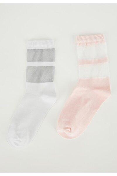 Kadın Pembe Beyaz Desenli 2'li Soket Çorap