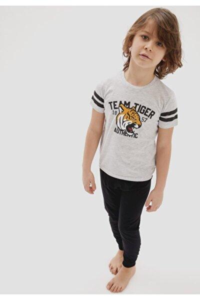 Erkek Çocuk Gri Kaplan Baskılı Kısa Kol Pijama Takımı