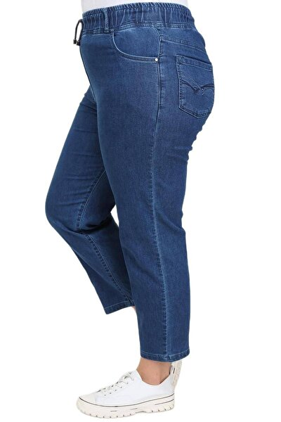 Büyük Beden Beli Latikli Bilek Boy Kot Pantolon
