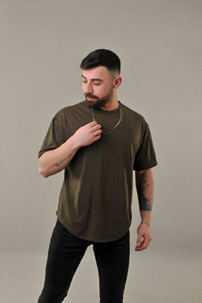 Erkek Haki Oval Kesim Oversize T-shirt