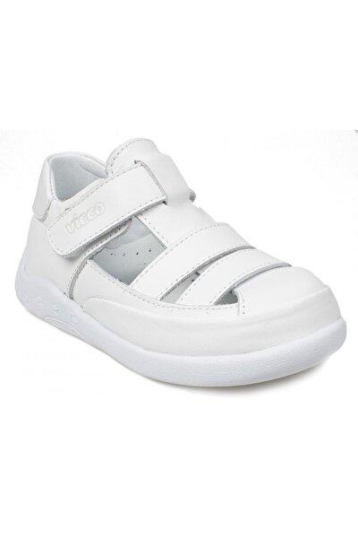 Kız Çocuk Beyaz Daffyıi Ilk Adım Deri Sandalet