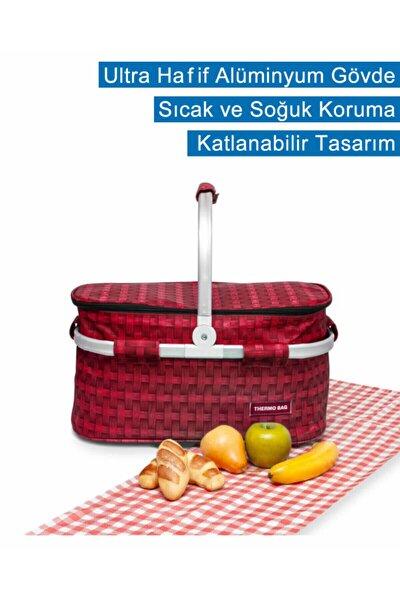 Thermo Bag Termoslu Piknik Sepeti - Piknik Çantası Kırmızı