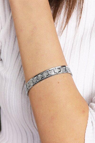 Kadın Gümüş Puantiye Desen Çelik Bileklik