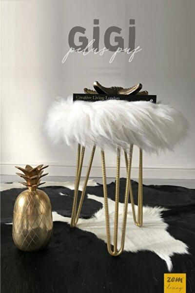 Gigi Beyaz Peluş Gold Ayaklı Puf