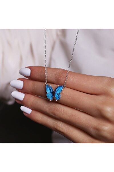 925 Ayar Gümüş Mavi Renk Kelebek Kolye