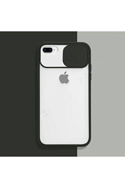 Siyah Iphone 7 Plus 8 Plus Sürgülü Kamera Korumalı Silikon Kılıf