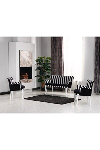 Çay Seti Koltuk Takımı 2+1+1 Kollu Zebra Desen Siyah Beyaz Salon Kafe Balkon Otel Ofis Berjer İkili