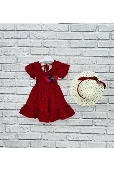Kız Çocuk Kırmızı Gipeli Puantiyeli Elbise 1087