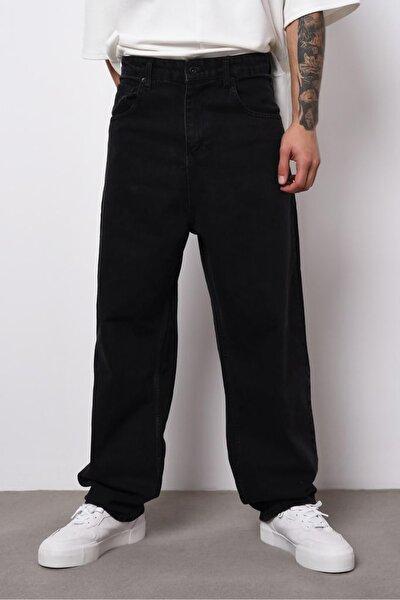 Erkek Siyah Wide Leg Jean Pantolon