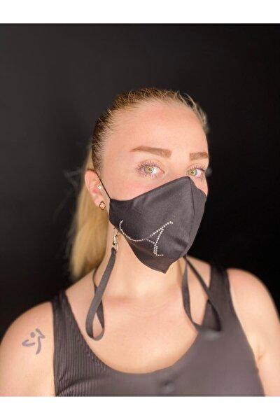Swarovski Taşlı A Harfi Yıkanabilir %100 Pamuklu Maske