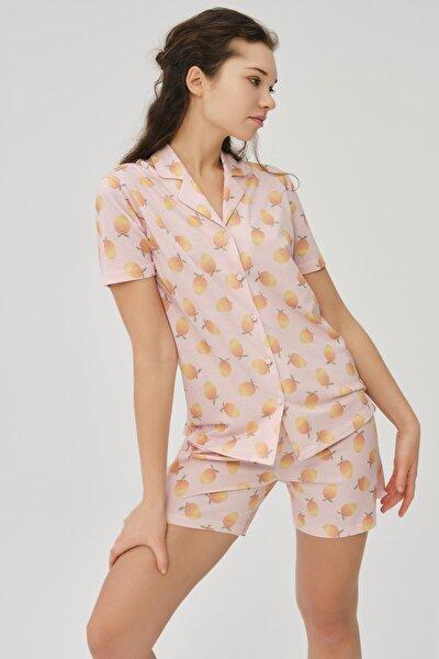 Kadın Somon Pamuklu Kayısı Baskılı Gömlek Şort Takımı
