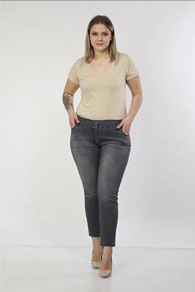 Kadın Gri Yüksek Bel Bilek Boy Çift Düğme Kemer Detaylı Büyük Beden Pantolon