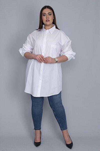 Kadın Beyaz Salaş Kesim Koton Gömlek 65N23796