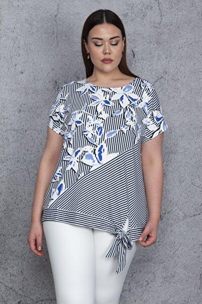 Kadın Mavi Düşük Kol Bel Yan Bağlamalı Çizgi Ve Çiçek Baskılı Viskon Bluz 65N23844