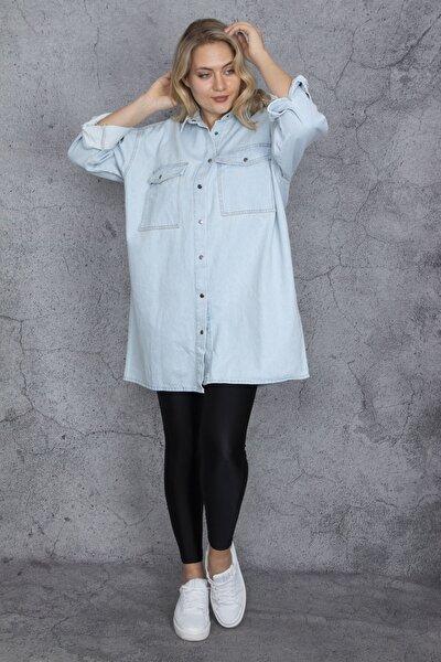 Kadın Mavi Salaş Kesim Çıtçıt Düğmeli Oversize Kot Tunik 65N23837
