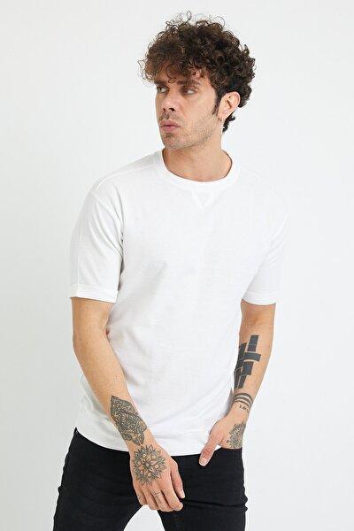 Beyaz Petek Örgü Waffle Kumaş Oversize T-shirt 1yxe1-44876-01