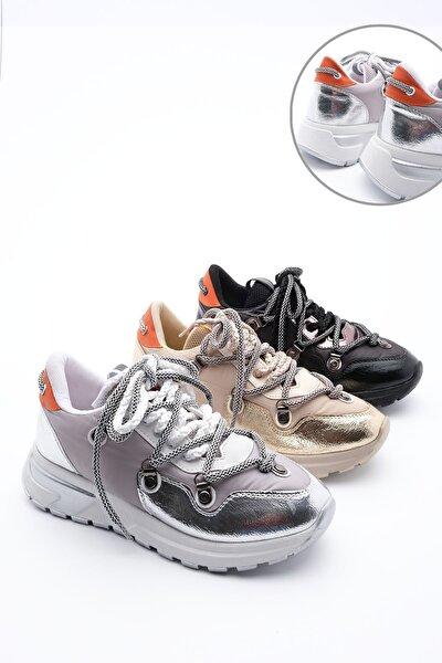 Kadın Gümüş Dolgu Topuk Spor Ayakkabı Sneaker