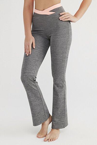 Kadın Antrasit Flare Pantolon