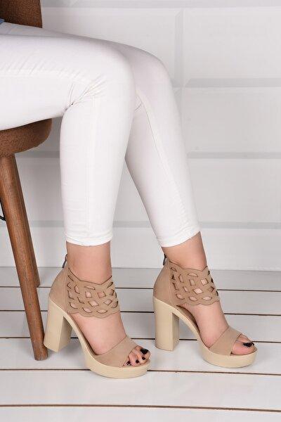 Kadın Krem Lazerli Dolgu Topuk Ayakkabı Ba20596