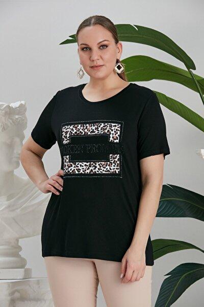 Kadın Büyük Beden Taş Işlemeli Leoparlı Tişört