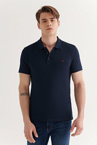 Erkek Lacivert Polo Yaka Düz T-shirt E001004