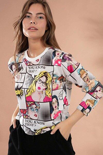 Kadın Baskılı Crop Uzun Kollu Sweatshirt Y20w110-55312