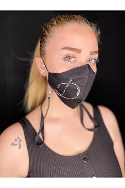Swarovski Taşlı D Harfi Yıkanabilir %100 Pamuklu Maske