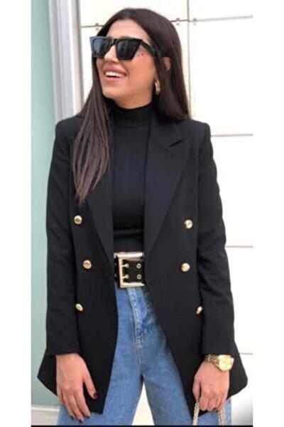 Uzun Gold Düğmeli Siyah Blazer Ceket