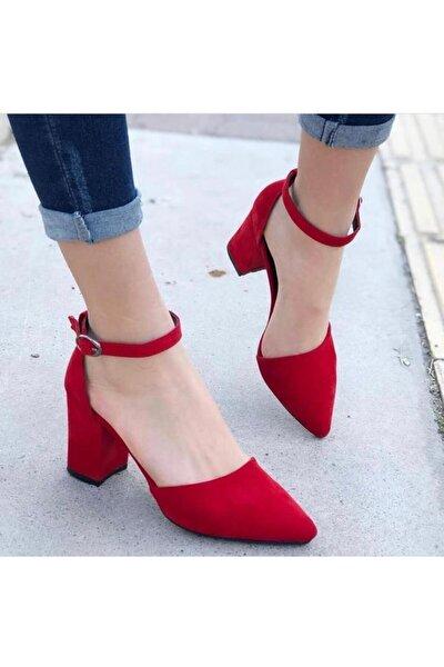 Kadın Kırmızı Süet Topuklu Ayakkabı