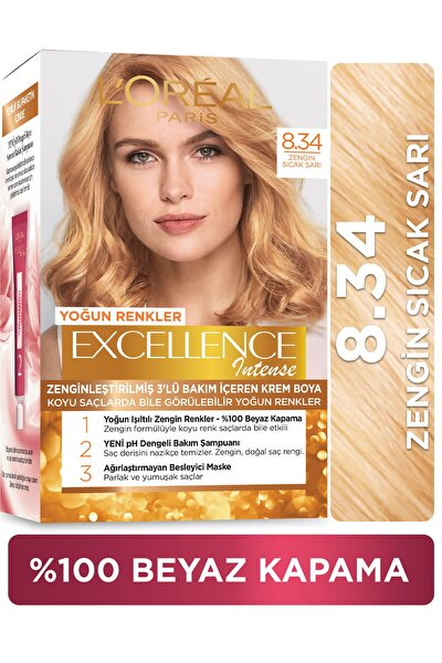 Excellence Intense Zengin Sıcak Sarı Saç Boyası 8.34