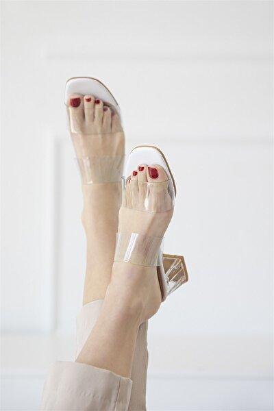 Brown Bayan Şeffaf Topuklu Sandalet Beyaz