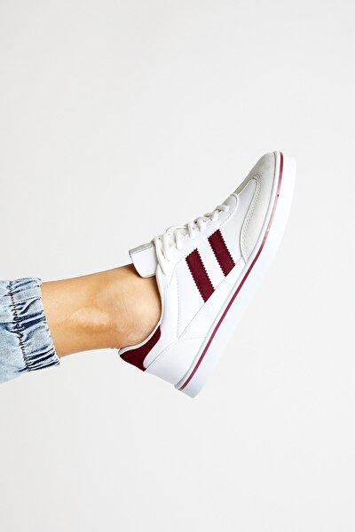 Unisex Beyaz Bordo  Sneaker TBADG-0