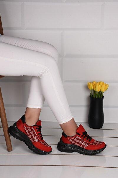 Kadın Kırmızı Taşlı Spor Ayakkabı Ba20978