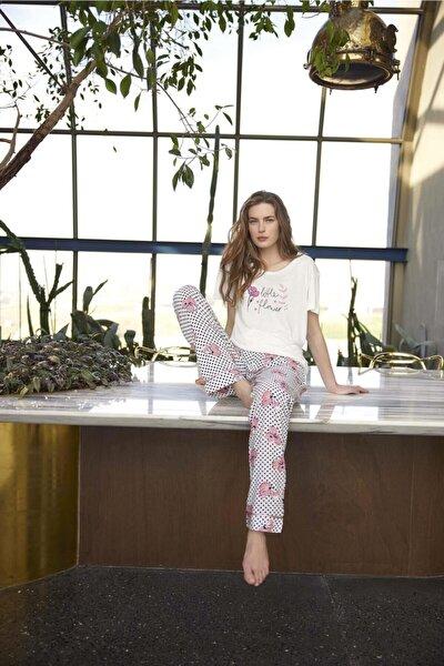 Kadın Poplin Kısa Kollu Pijama Takımı