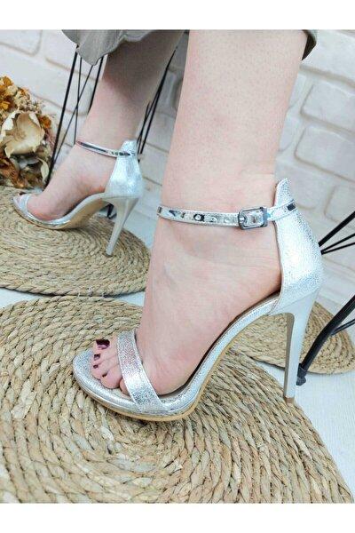 - 11 Cm Ince Topuklu, Tek Bant, Gümüş Kırma Desen, Kadın Topuklu Ayakkabı