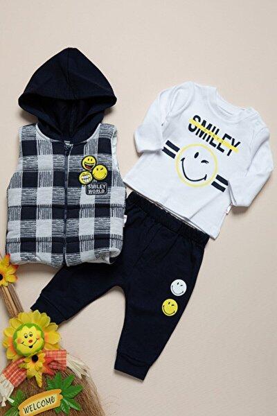 Bebek Lacivert Hippıl Baby Smiley Üçlü Takım