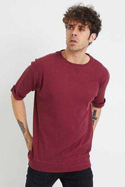 Erkek Vişne Çürüğü Petek Örgü Waffle Kumaş Oversize T-shirt