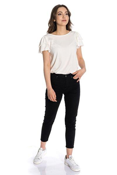 Kadın Beyaz Kol Ve Arkası Detaylı Örme Bluz